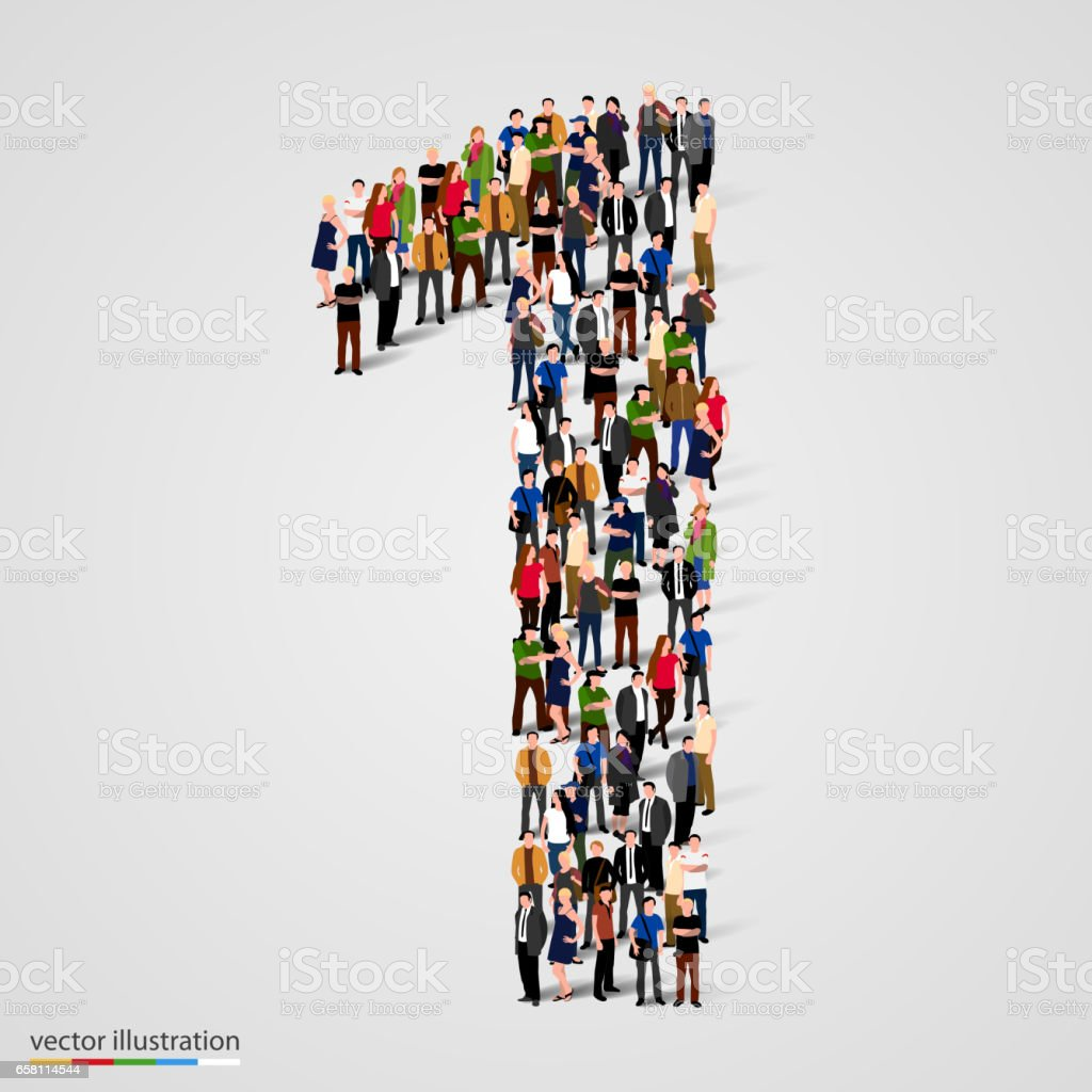 Large group of people in number 1 one form vector art illustration