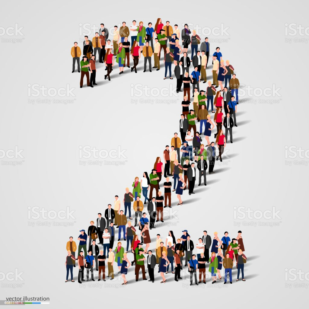 Large group of people in number 2 two form vector art illustration