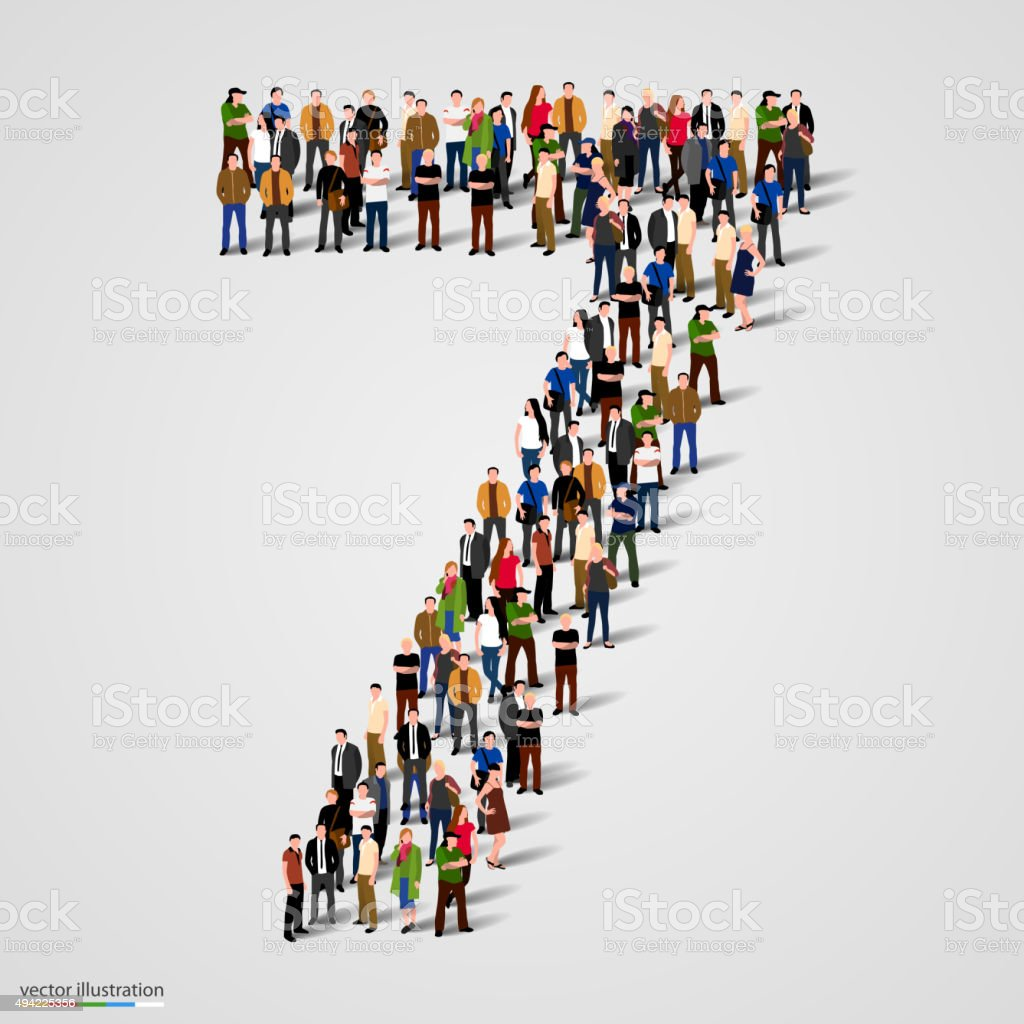 Large group of people in number 7 seven form vector art illustration