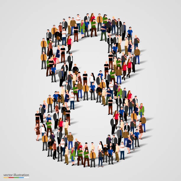 Large group of people in number 8 eight form vector art illustration