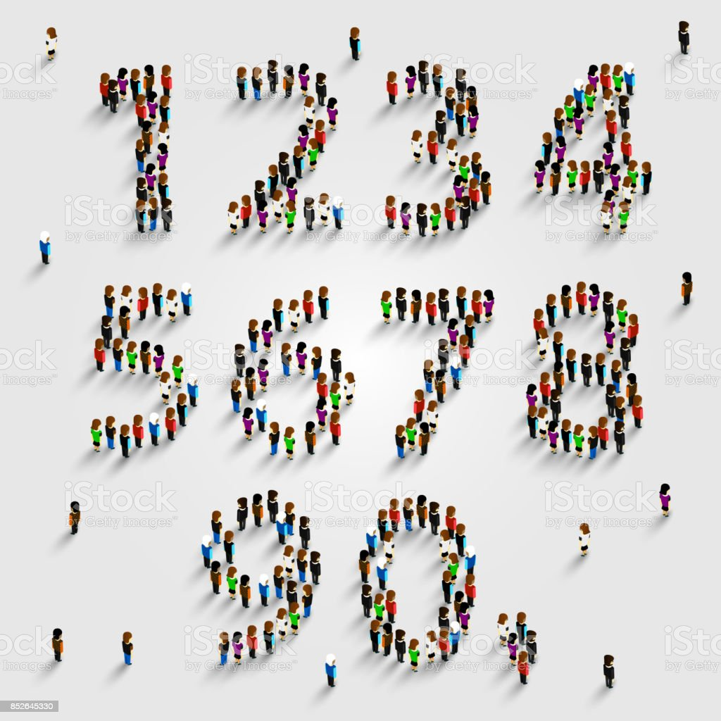 Large group of people in number set form. vector art illustration
