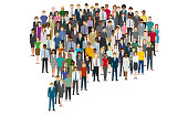 Large group of people in the chat bubble shape. Created with adobe illustrator.