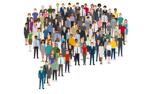 stockillustraties, clipart, cartoons en iconen met grote groep mensen in de chat bubble shape - grote groep mensen