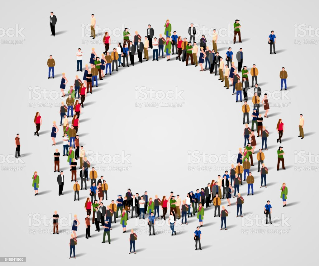 Large group of people in the chat bubble shape. vector art illustration