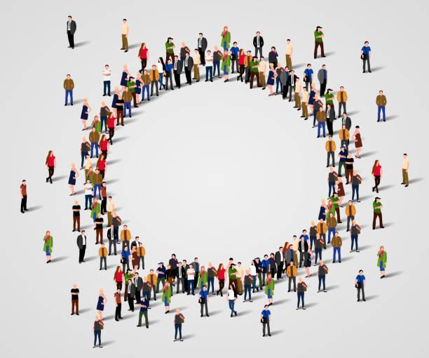 bildbanksillustrationer, clip art samt tecknat material och ikoner med stor grupp människor i chatten bubblan form. - stor grupp av objekt