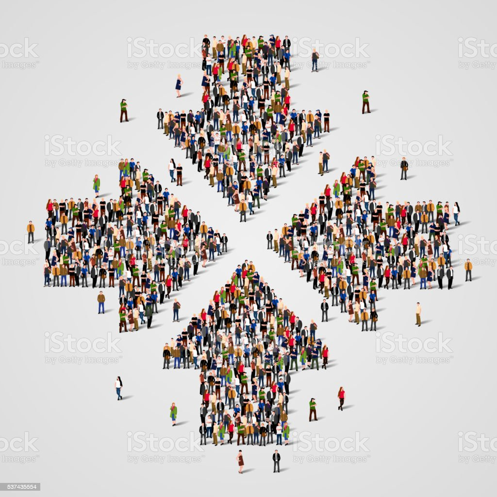 Large group of people in the convergent arrows form. vector art illustration