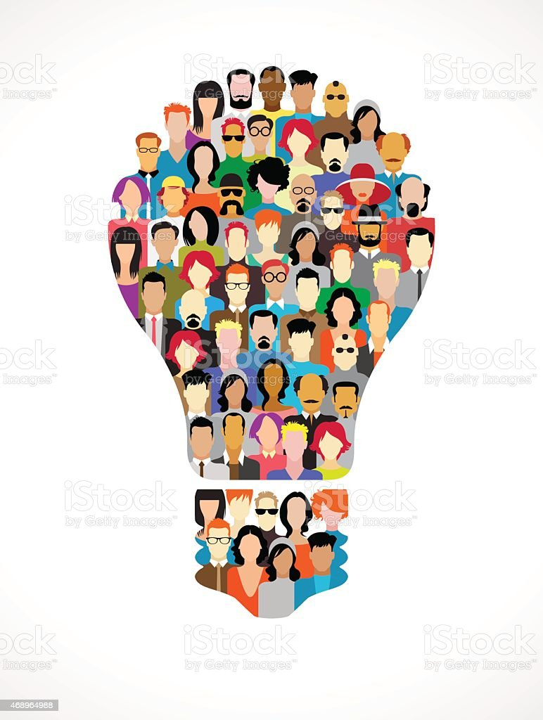 Large group of people in the form of light bulbs vector art illustration