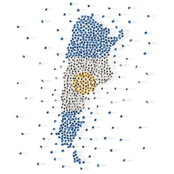 illustrations, cliparts, dessins animés et icônes de grand groupe de personnes en forme de drapeau de la république argentine. argentine. - argentine