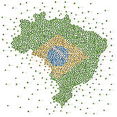Large group of people in the shape of Brazilian flag. Federative Republic of Brazil. Vector illustration.