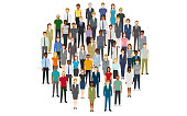 Large group of people in the shape of circle. Created with adobe illustrator.