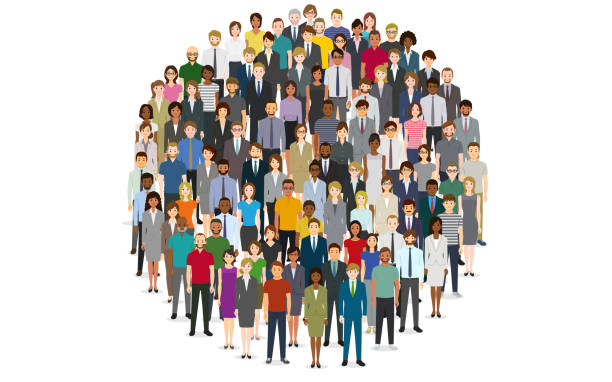 Large group of people in the shape of circle vector art illustration