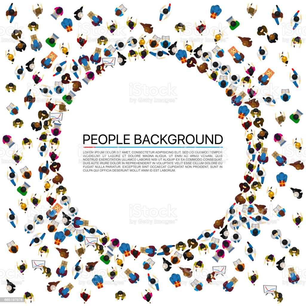 Large group of people in the shape of circle. Vector illustration vector art illustration
