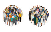Large group of people in the shape of circles. Created with adobe illustrator.