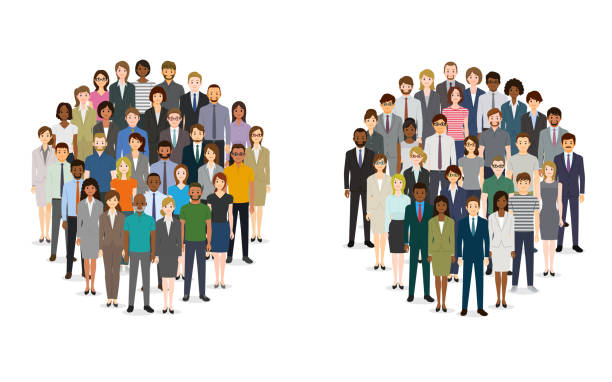 Large group of people in the shape of circles vector art illustration