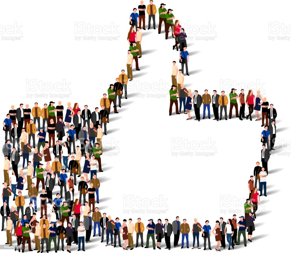 Large group of people in the shape of like sign. vector art illustration