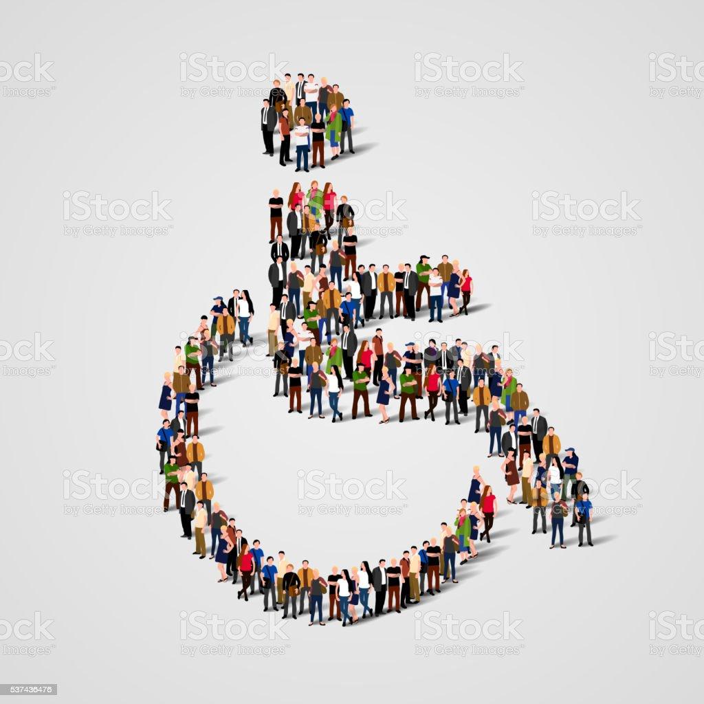 Grande grupo de pessoas em cadeiras de rodas forma. - Royalty-free Abstrato arte vetorial