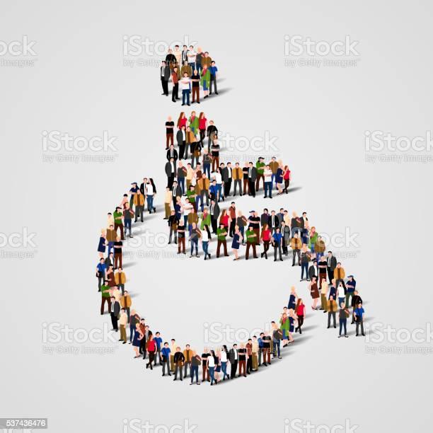 Grande Grupo De Pessoas Em Cadeiras De Rodas Forma - Arte vetorial de stock e mais imagens de Abstrato