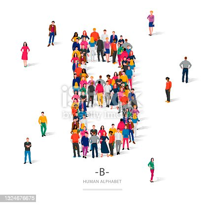 istock A large group of people is standing in colored clothes in the shape of the letter B. The concept of the human alphabet. 1324676675