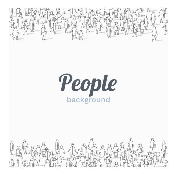 Large group of people on white background. Outline style. People communication concept. Large group of people on white background. Outline style. People communication concept. Vector illustration abstract silhouettes stock illustrations