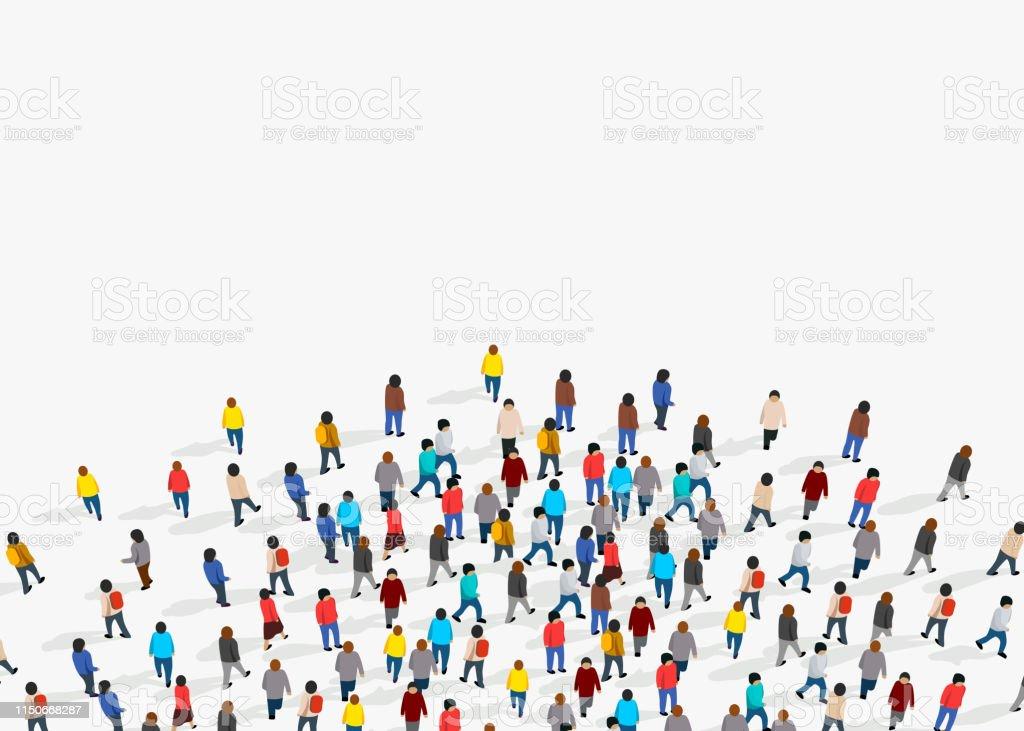 Large group of people on white background. People communication...