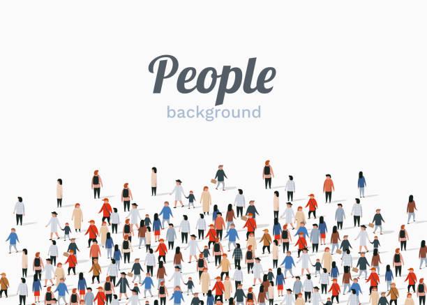 stockillustraties, clipart, cartoons en iconen met grote groep mensen op witte achtergrond. het communicatieconcept van mensen. - grote groep mensen