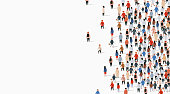 Large group of people on white background. People communication concept. Vector illustration