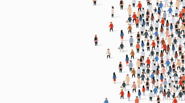 stockillustraties, clipart, cartoons en iconen met grote groep mensen op witte achtergrond. people communication concept. - grote groep mensen