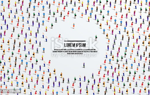 A large group of people on white background with space for text. Crowd seamless background. Vector illustration