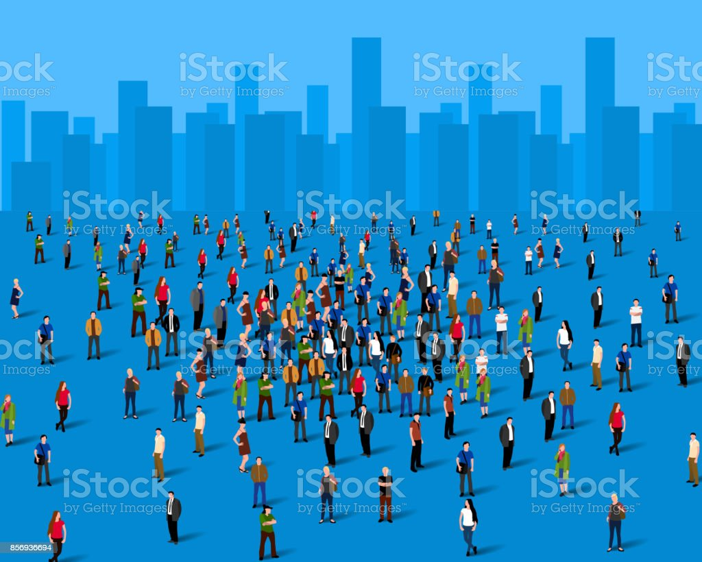 Large group of people over the city. Business concept. vector art illustration
