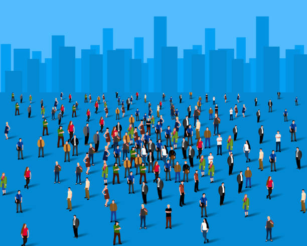 large group of people over the city. business concept. - architecture silhouettes stock illustrations