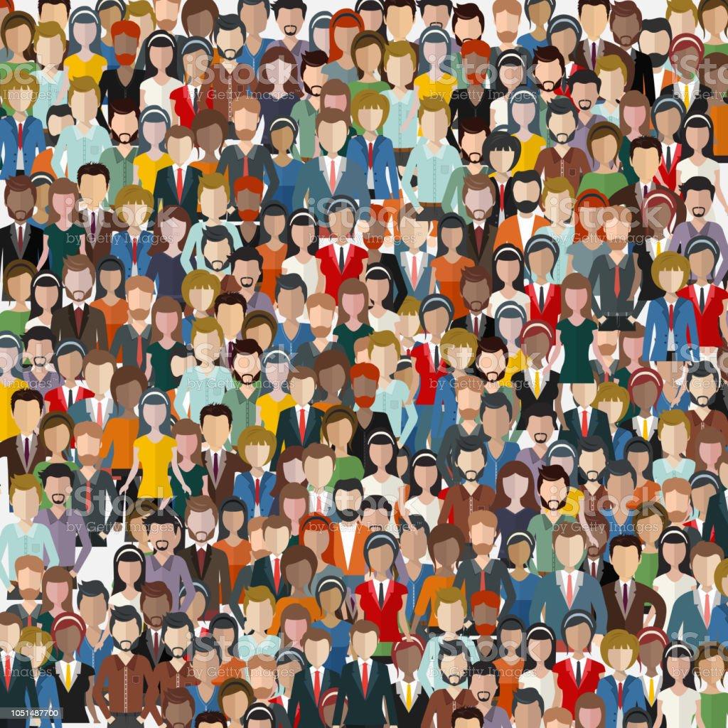 人々 の大規模なグループ。シームレスな背景。ビジネスの人々 は、チームワークの概念。フラットのベクトル図 ロイヤリティフリー人々 の大規模なグループシームレスな背景ビジネスの人々 はチームワークの概念フラットのベクトル図 - イラストレーションのベクターアート素材や画像を多数ご用意