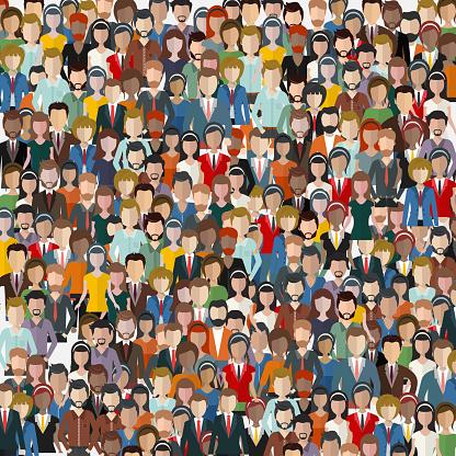人々 の大規模なグループシームレスな背景ビジネスの人々 はチームワークの概念フラットのベクトル図 - イラストレーションのベクターアート素材や画像を多数ご用意
