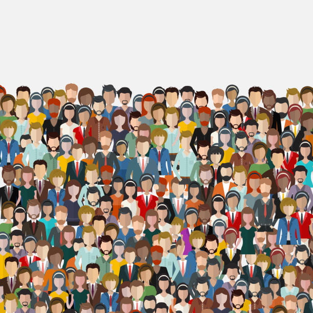 Large group of people. Seamless background. Business people, teamwork concept. Flat vector illustration Large group of people. Seamless background. Business people, teamwork concept. Flat vector illustration audience stock illustrations