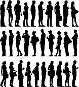 Multi ethnic, varies ages large group of silhouettes.