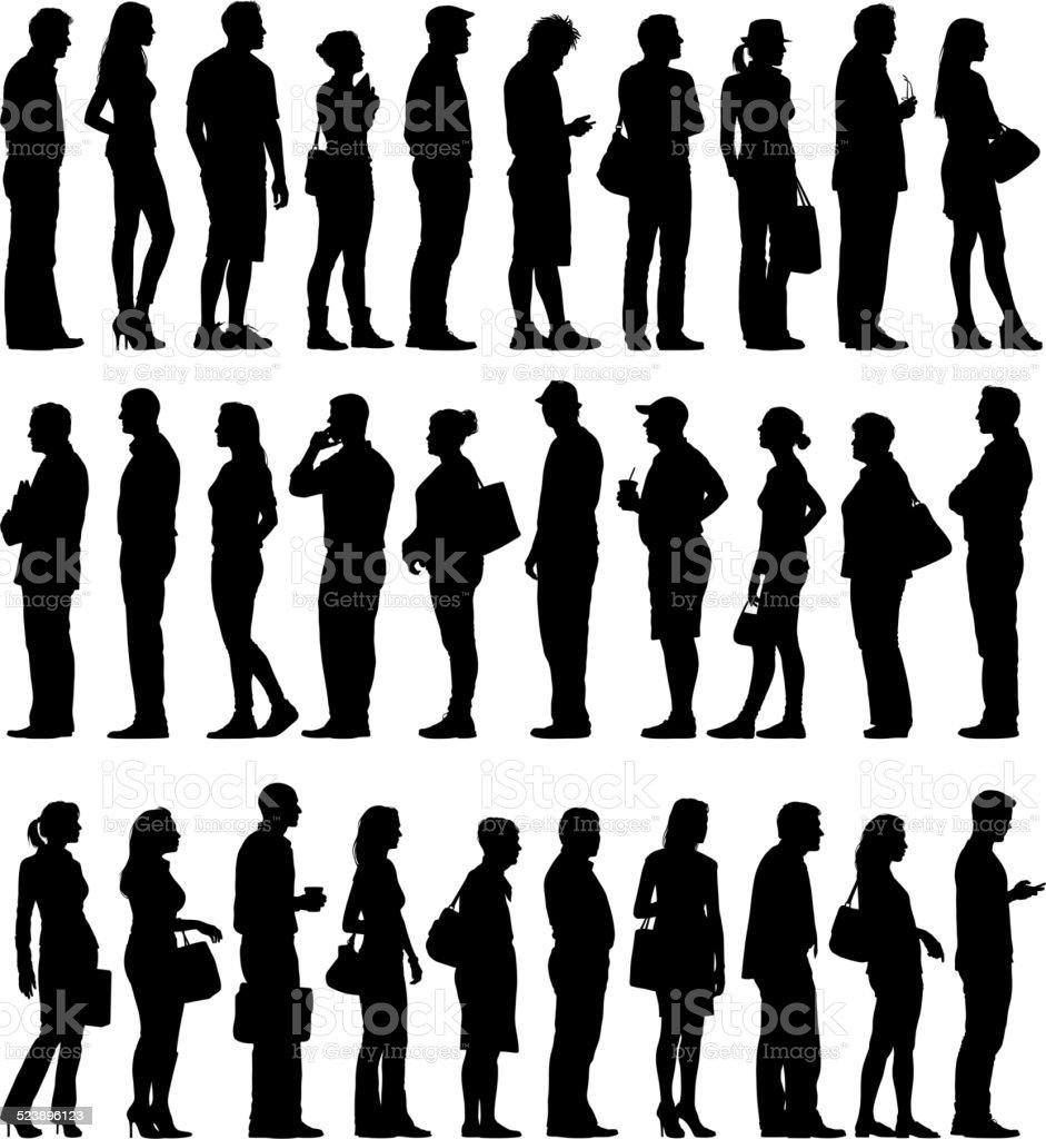 Grupo Grande de Pessoas silhuetas de espera na fila - ilustração de arte em vetor
