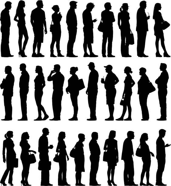 bildbanksillustrationer, clip art samt tecknat material och ikoner med large group of people silhouettes waiting in line - medelålders