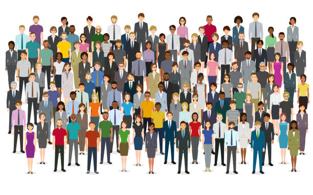 Large group of people Large group of people. Created with adobe illustrator. crowd of people stock illustrations