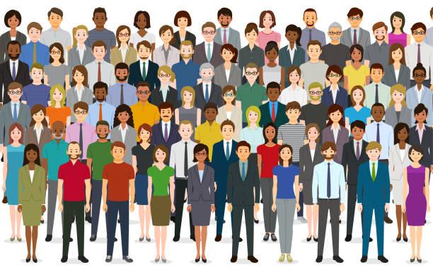 많은 사람들의 그룹 - 단정한 사무복 stock illustrations