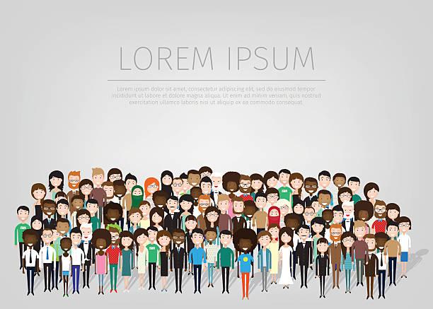 ilustraciones, imágenes clip art, dibujos animados e iconos de stock de grupo grande de personas - saludar