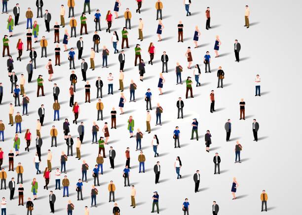 duża grupa ludzi. - duża grupa obiektów stock illustrations