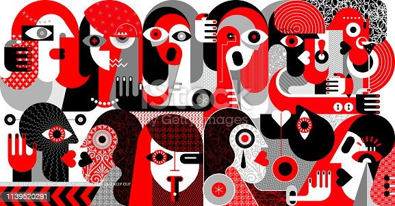 Large group of people modern abstract art vector illustration. Red, black and grey design isolated on a white background.