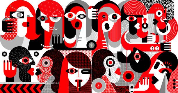 stockillustraties, clipart, cartoons en iconen met grote groep mensen vector illustratie - kussen met de mond