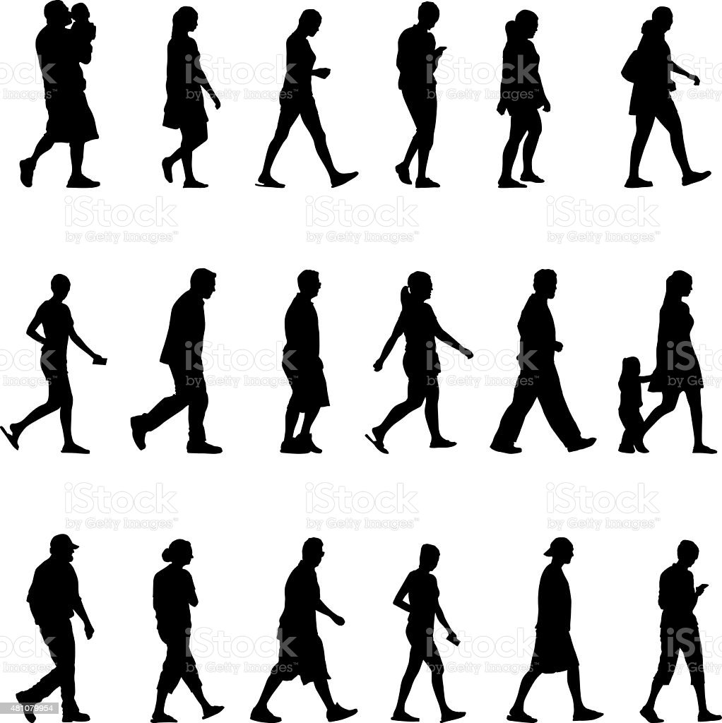Large group of silhouette people walking vector art illustration