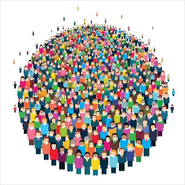 stockillustraties, clipart, cartoons en iconen met grote groep gestileerde mensen in de vorm van een cirkel. - grote groep mensen