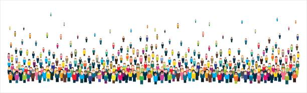 Large group of stylized people in the shape of a long strip. vector art illustration