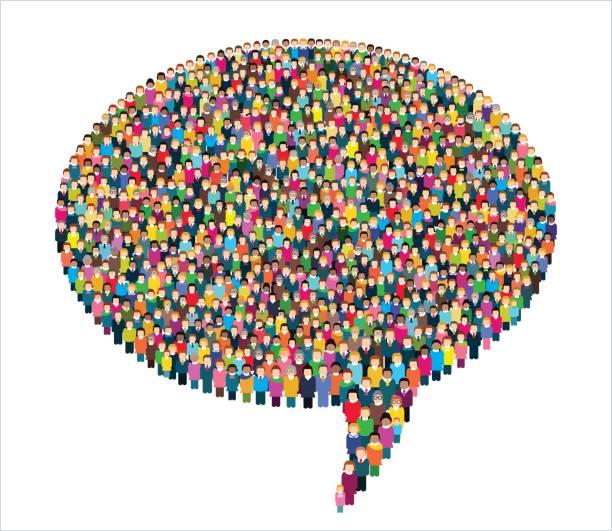 stockillustraties, clipart, cartoons en iconen met grote groep gestileerde mensen in de vorm van een tekstballon. - grote groep mensen