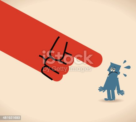 Vector illustration – Large hand pointing at man.