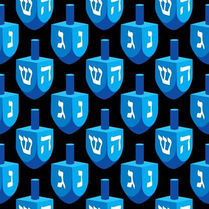Large Hanukkah Dreidel Seamless pattern