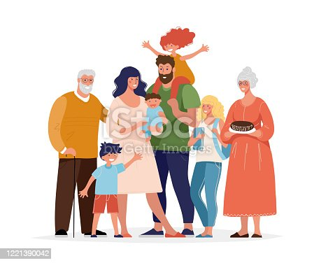 istock A large happy family is standing and hugging. Several generations, grandparents, parents with children, grandchildren. Flat cartoon vector illustration. 1221390042