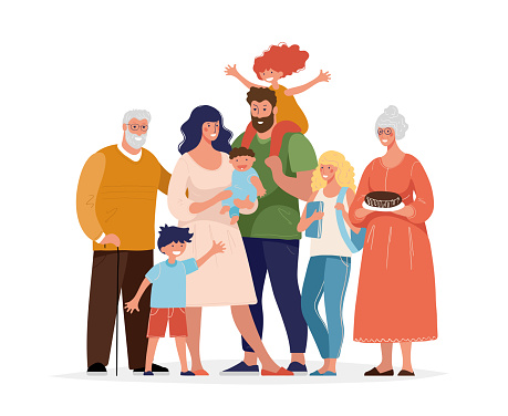 A large happy family is standing and hugging. Several generations, grandparents, parents with children, grandchildren. Flat cartoon vector illustration.